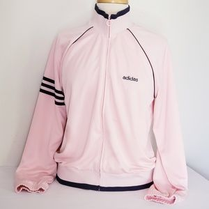 Blush and navy adidas track jacket
